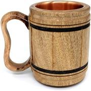 Handmade wooden Beer Mug copper Cup Carved